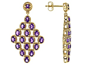 Purple Amethyst 18K Yellow Gold Over Sterling Silver Earrings 4.25ctw