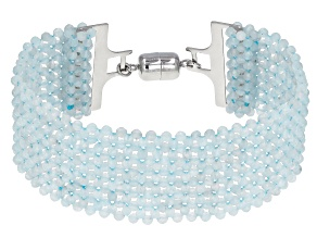 Aquamarine Beads Rhodium Over Sterling Silver Woven Lace Bracelet