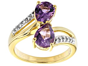 Purple African Amethyst 18k Yellow Gold Over Sterling Silver Bypass Ring 1.70ctw
