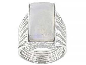 Rainbow Moonstone Rhodium Over Sterling Silver Solitaire Ring