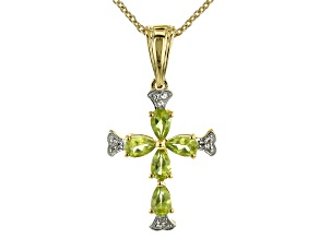 Green Peridot 18k Gold Over Silver Cross Pendant With Chain .98ctw.