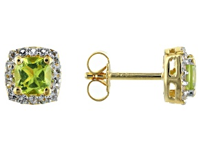 Manchurian Peridot With White Topaz 18k Yellow gold Over Silver Stud Earrings 1.496ctw