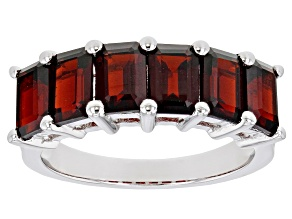 Red Garnet Rhodium Over Sterling Silver Band Ring 2.55ctw