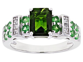 Green Chrome Diopside Rhodium Over Sterling Silver Ring 2.13ctw