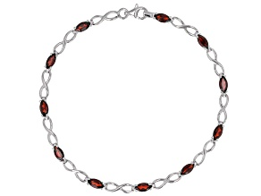 Marquise Red Vermelho Garnet(TM) Rhodium Over Sterling Silver Bracelet 2.80ctw