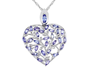 Blue Tanzanite Rhodium Over Sterling Silver Heart Shape Pendant With Chain 2.16ctw