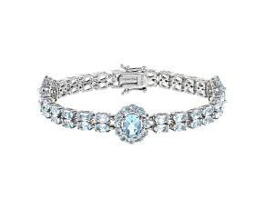 Blue Topaz Rhodium Over Sterling Silver Bracelet 16.25ctw