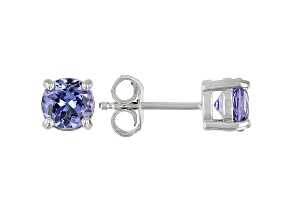 Blue Tanzanite Rhodium Over Sterling Silver Solitaire Stud Earrings 1.11ctw