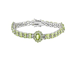 Green Peridot Rhodium Over Sterling Silver Bracelet 14.21ctw
