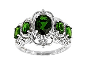 Chrome Diopside Rhodium Over Sterling Silver Ring 1.29ctw