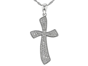 White Zircon Rhodium Over Sterling Silver Cross Pendant With Chain 1.13ctw