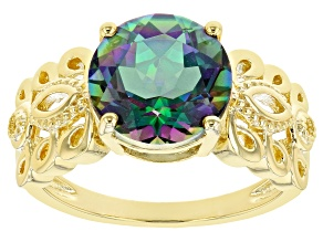 Multi-Color Quartz 18k Yellow Gold Over Silver Ring 2.98ct