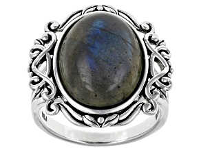 Gray Labradorite Rhodium Over Sterling Silver Soltaire Ring
