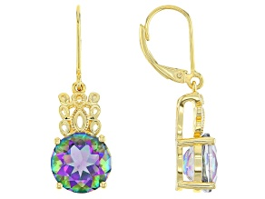Multi-Color Quartz 18k Yellow Gold Over Silver Earrings 5.95ctw