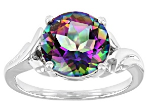 Multi-Color Quartz Rhodium Over Sterling Silver Ring 2.98ct