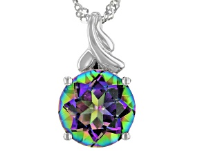 Multi-Color Quartz Rhodium Over Silver Pendant With Chain 2.98ct