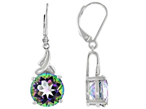 Multi-Color Quartz Rhodium Over Silver Earrings 5.95ctw
