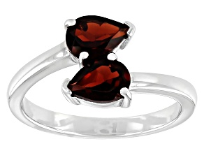 Red Garnet Rhodium Over Sterling Silver Ring 1.41ctw