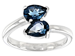 London Blue Topaz Rhodium Over Sterling Silver Ring 1.41ctw