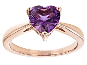 Purple Lab Created Sapphire 18k Rose Gold Over Silver Solitaire Ring 1.83ct