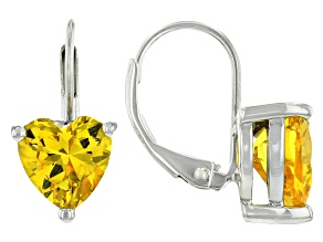 Yellow Lab Created Sapphire Rhodium Over Sterling Silver Earrings 4.04ctw
