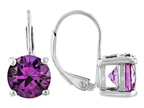 Purple Lab Created Sapphire Rhodium Over Sterling Silver Earrings 3.91ctw