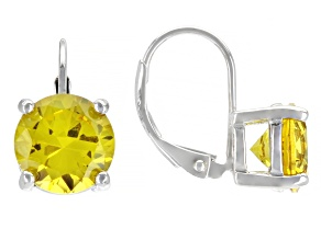 Yellow Lab Created Sapphire Rhodium Over Sterling Silver Earrings 4.25ctw