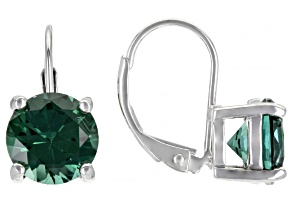 Green Lab Created Sapphire Rhodium Over Sterling Silver Earrings 4.23ctw