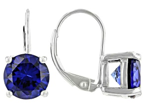 Lab Created Blue Sapphire Rhodium Over Sterling Silver Earrings 4.00ctw