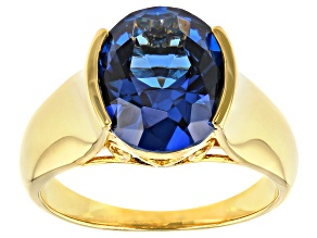 Lab Created Blue Spinel 18K Yellow Gold Over Sterling Silver Solitaire Ring 4.68ct