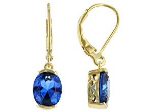 Lab Created Blue Spinel 18K Yellow Gold Over Silver Dangle Earrings 3.40ctw