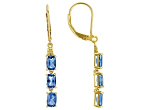 Lab Created Blue Spinel 18K Yellow Gold Over Sterling Silver Dangle Earrings 2.55ctw