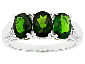 Chrome Diopside Rhodium Over Sterling Silver 3-Stone Ring 2.04ctw