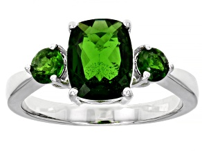 Green Chrome Diopside Rhodium Over Sterling Silver 3-Stone Ring 2.42ctw