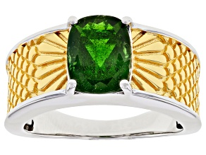 Green Chrome Diopside Rhodium Over Sterling Silver Solitaire Two-Tone Ring 1.96ct