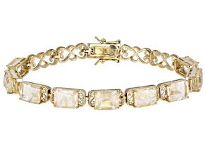 White Rutilated Quartz 18k Yellow Gold Over Sterling Silver Tennis Bracelet 18.66ctw