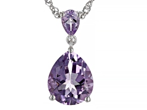 Lavender Amethyst Rhodium Over Sterling Silver Pendant With Chain 3.65ctw