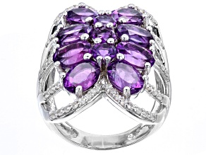 Purple African Amethyst Rhodium Over Sterling Silver Ring 6.34ctw