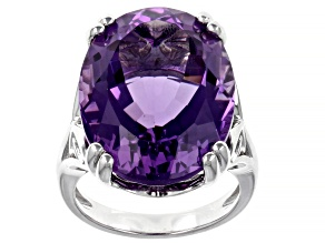 Purple African Amethyst Rhodium Over Sterling Silver Solitaire Ring 18.50ct