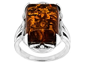 Orange Amber Rhodium Over Sterling Silver Solitaire Ring