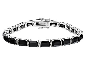Black Spinel Rhodium Over Sterling Silver Bracelet 27.73ctw