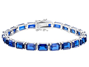 Blue Lab Created Spinel Rhodium Over Sterling Silver Bracelet 23.92ctw