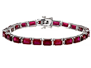 Red Lab Created Ruby Rhodium Over Sterling Silver Bracelet 25.91ctw