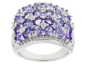 Blue Tanzanite Rhodium Over Sterling Silver Ring 5.03ctw