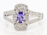 Blue Tanzanite Rhodium Over Sterling Silver Ring 0.41ctw