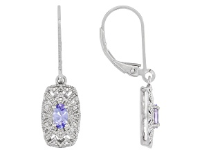 Blue Tanzanite Rhodium Over Sterling Silver Dangle Earrings .41ctw