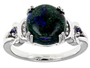 Blue Azurmalachite Rhodium Over Sterling Silver Ring 0.07ctw