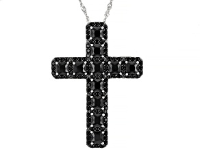 Black Spinel Rhodium Over Sterling Silver Cross Pendant With Chain 5.86ctw