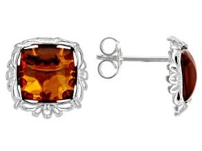 Orange Amber Sterling Silver Stud Earrings