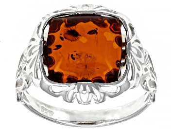 Picture of Orange Square Cabochon Cognac Amber Sterling Silver Solitaire Ring